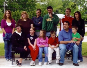 MacNeil Family sitting on Bruce's Bench in Klipstine Park on July 1, 2009