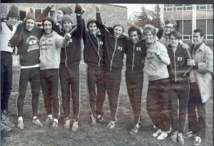 1970 X-Country Team - Jim is 2nd from left, Coach Esten is far right